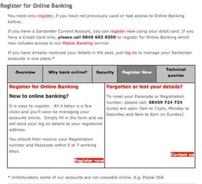 Register online banking