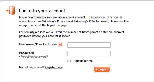 Sainsburys login