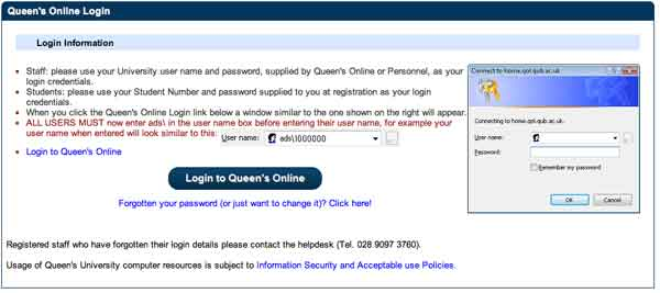 Login QUB student account