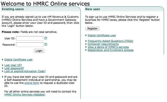 HMRC Online login, registration on www.hmrc.gov.uk