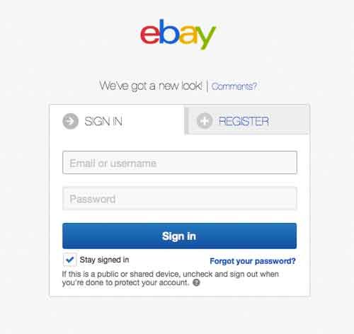 Ebay login account
