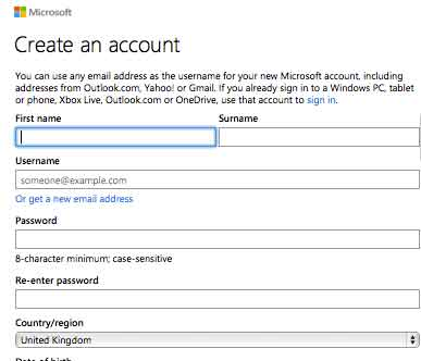 Create hotmail account