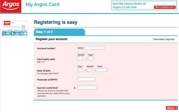 Register argos