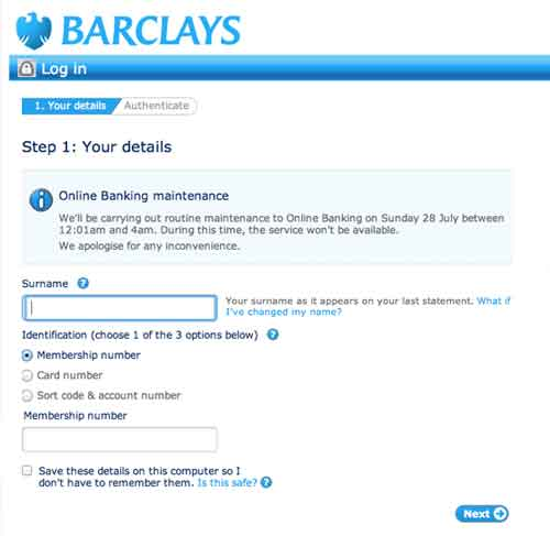 Login Barclays account