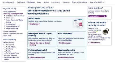 Online banking information