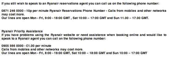 Ryanair customer service