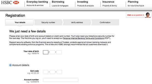 HSBC Online Banking Login on hsbc co uk