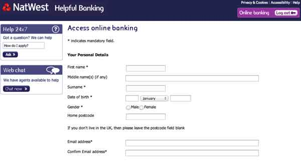 how do i sign up for online banking with natwest