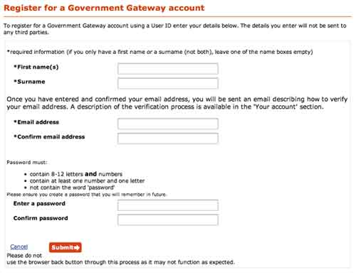 Register Directgov account