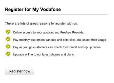 Register Vodafone account