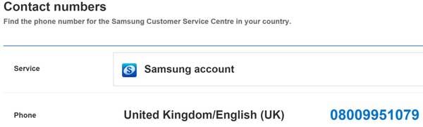 Samsung contact